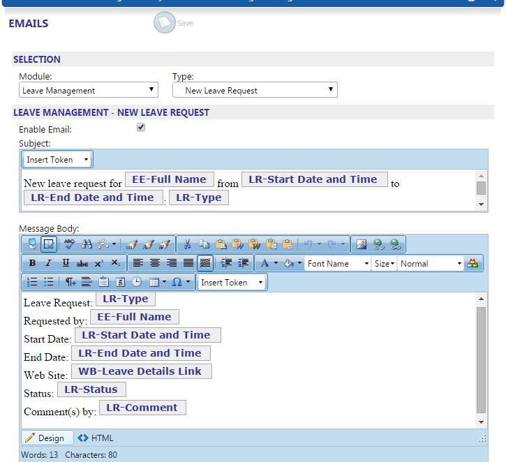 Customizing Leave Management Emails